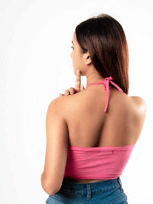 Basic Front cut mini Halter neck Top