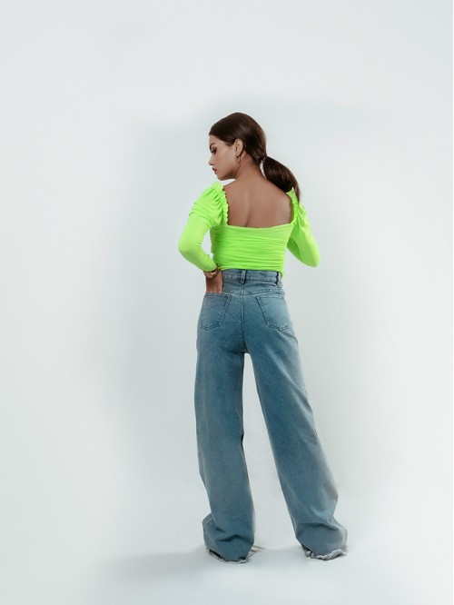 Full sleeve front gathered milkmaid Top (Lime Gree...