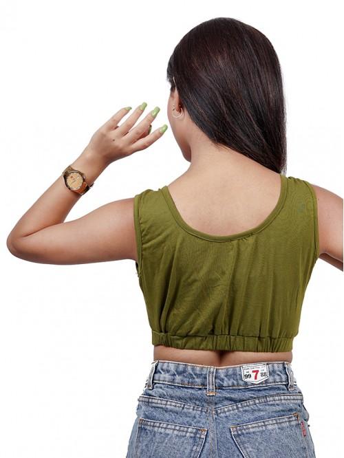 Round neck sleeveless elastic hem crop Top
