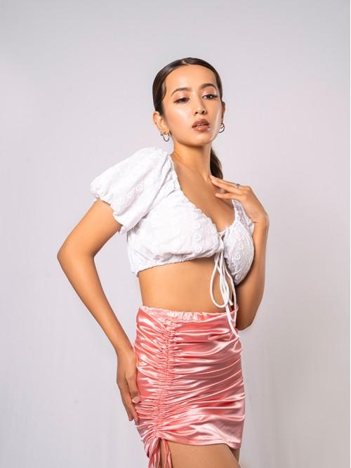Side Drawstring Satin Skirt