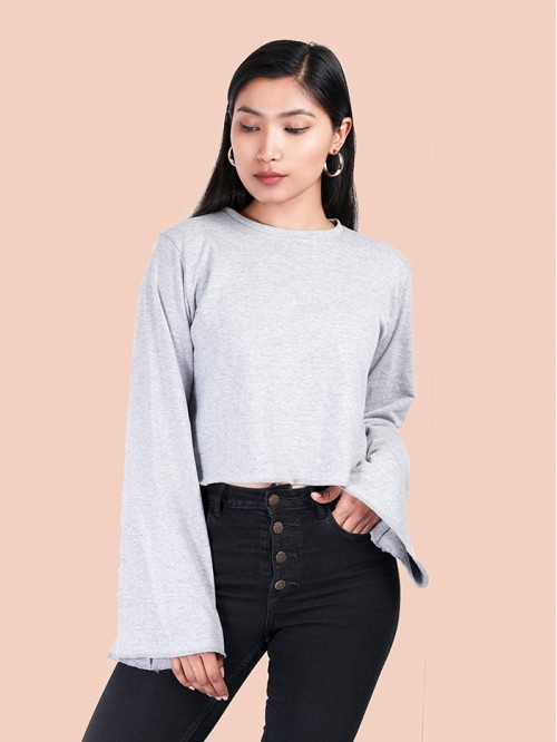 Crew Neck Bell Sleeve Crop Sweatshirt