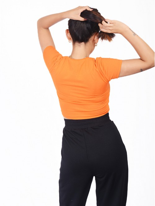 Orange Fitted Basic Crop Top