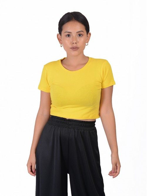 Yellow Fitted Basic Crop Top
