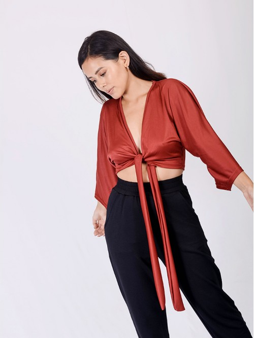 Flare Sleeve Tie-Up Top