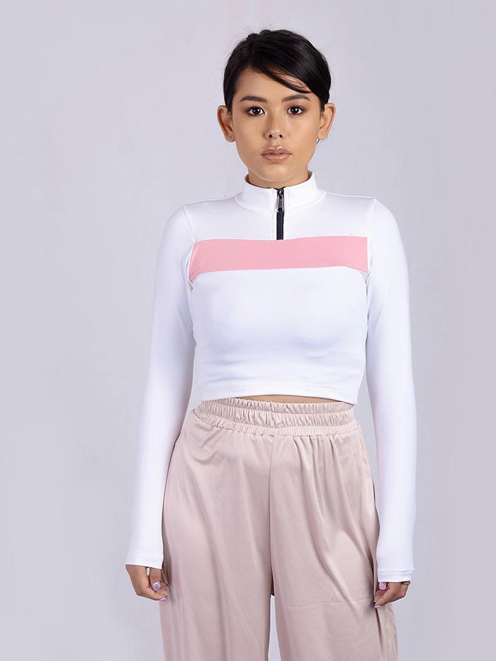 Full Sleeve Color Block Front Zip Top