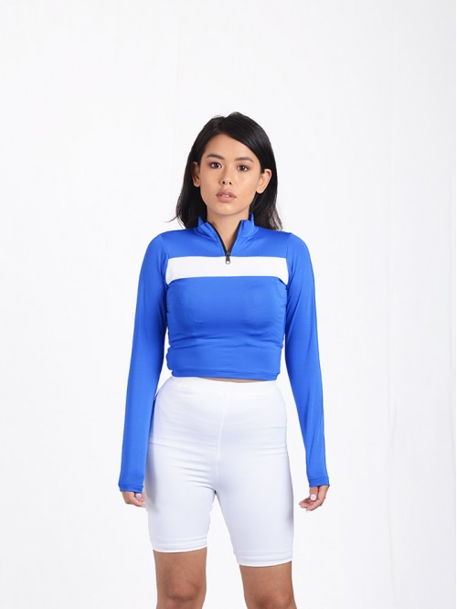 Full Sleeve Color Block Front Zip Top