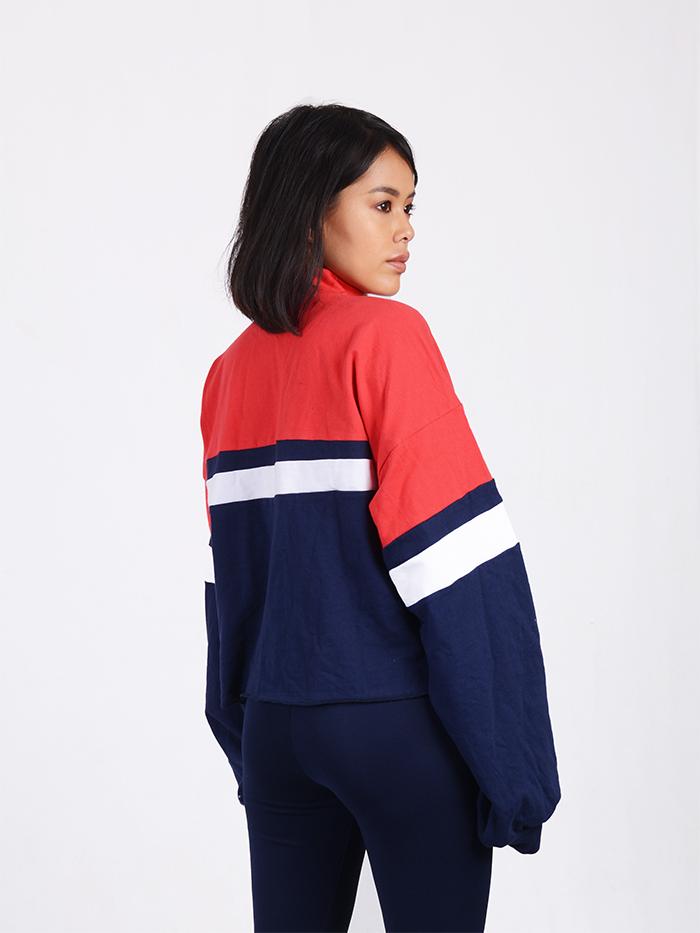 Color Block Sweatshirt with Front Zip Detail