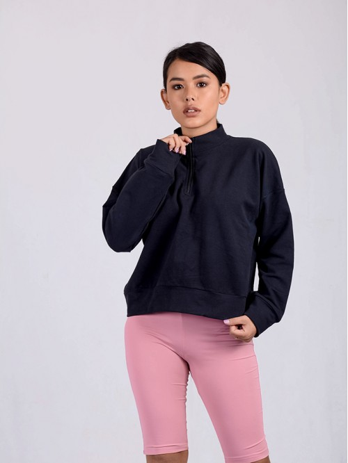 Turtle Neck Sweatshirt with Front Zip Detail