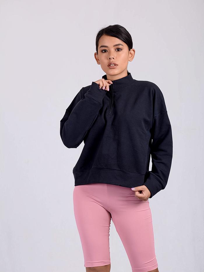 Turtle Neck Sweatshirt with Front Zip Detail