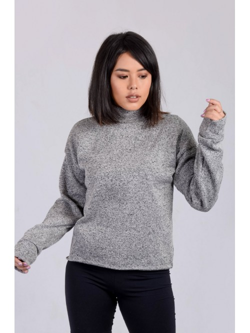 Turtle Neck Raw Hem Top