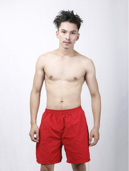Men's Red Longline Swim Trunk