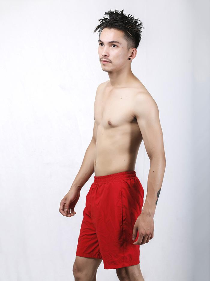 Men's Red Longline Swim Trunk