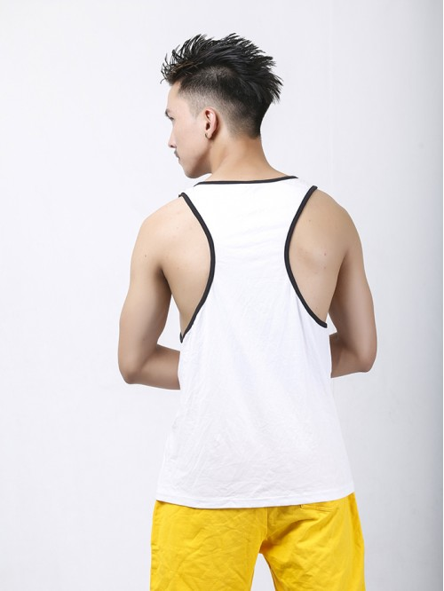 Men's Black-White Contrast Pannel Tank Top
