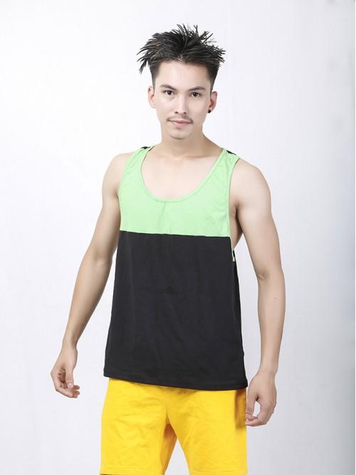 Men's Lime-Black Contrast Pannel Tank Top