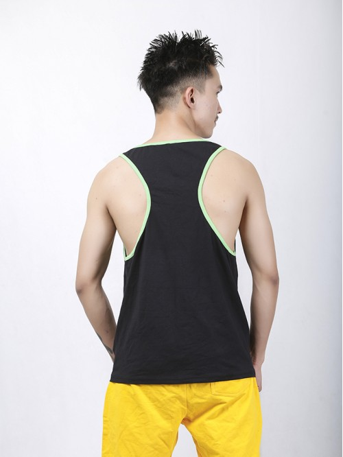 Men's Lime-Black Contrast Pannel Tank Top