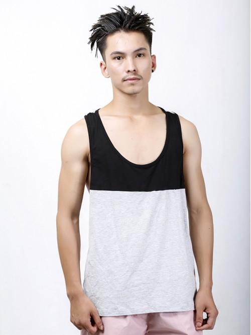 Men's Black-Grey Contrast Pannel Tank Top
