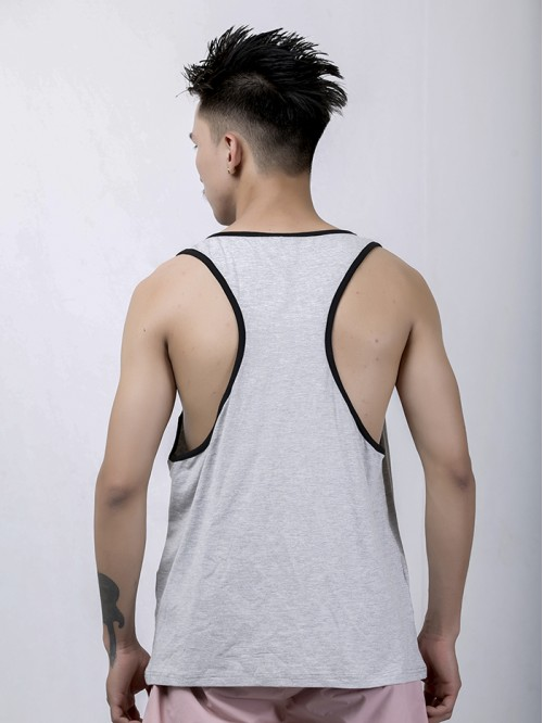 Men's Black-Grey Contrast Pannel Tank Top