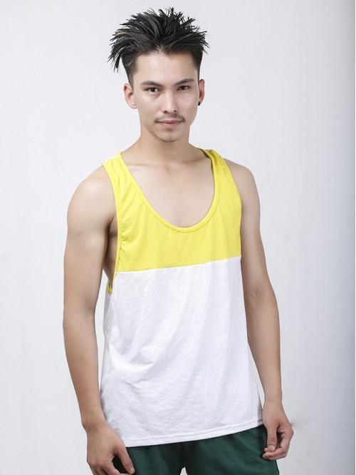 Men's Yellow-White Contrast Pannel Tank Top
