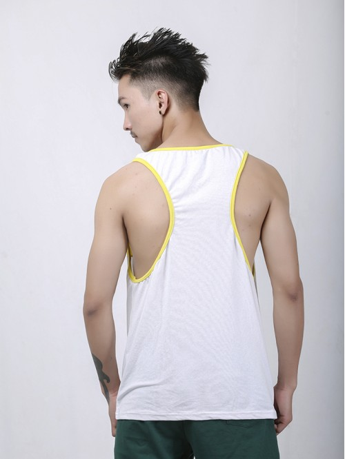 Men's Yellow-White Contrast Pannel Tank Top