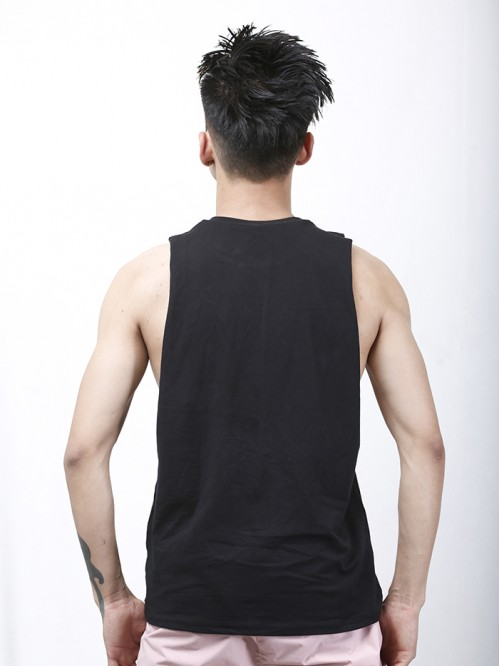 Men's Black Crew Neck Raw Edge Tank Top