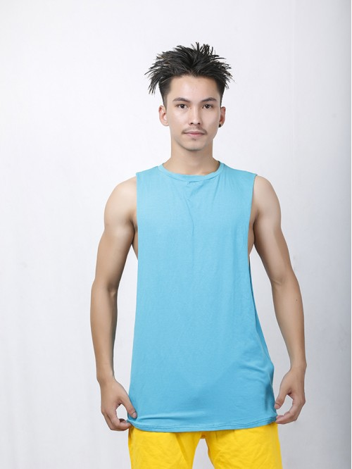 Men's Sky Blue Crew Neck Raw Edge Tank Top