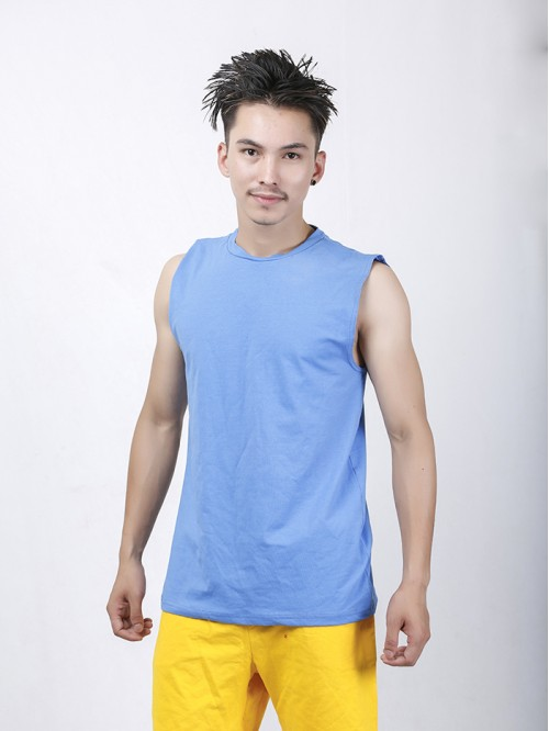 Men's Blue Crew Neck Raw Edge Tank Top
