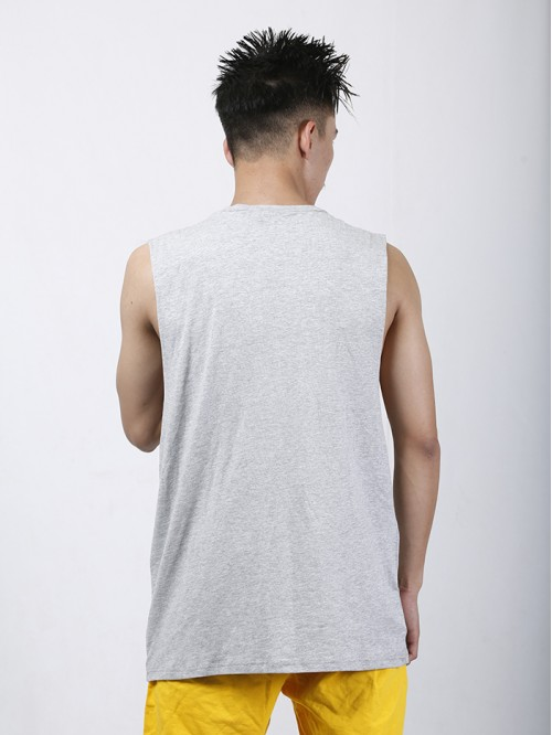 Men's Grey Crew Neck Raw Edge Tank Top