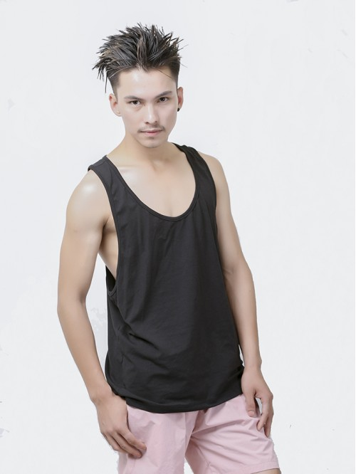 Men's Black Basic Racers Tank Top