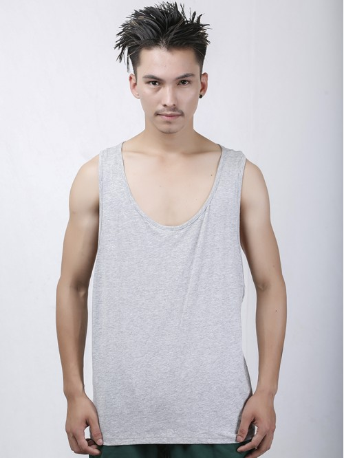 Men's Grey Basic Racers Tank Top