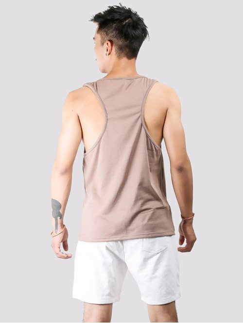 Men's Beige Basic Racers Tank Top