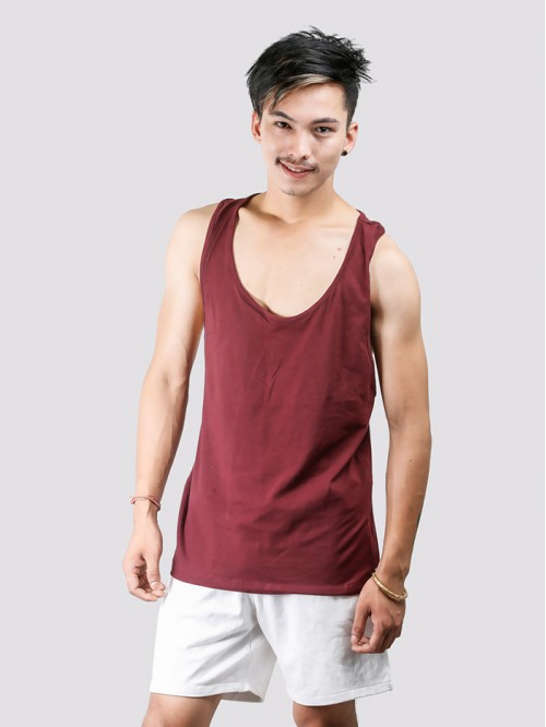 Men's Maroon Basic Racers Tank Top