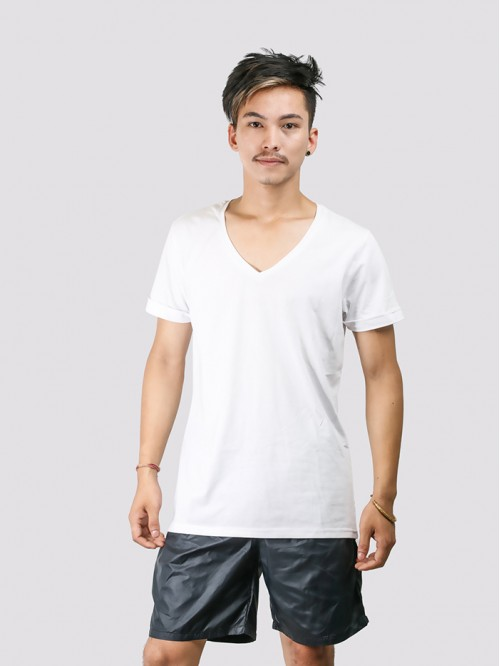 Men's White Basic V Neck Top