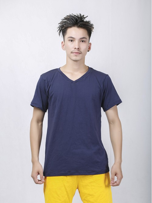 Men's Navy Basic V Neck Top
