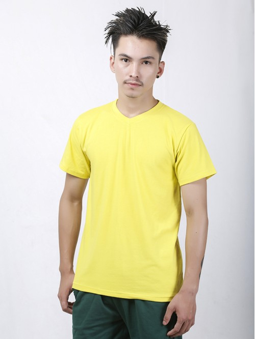 Men's Yellow Basic V Neck Top