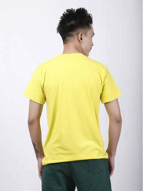 Men's Yellow Basic V Neck Top