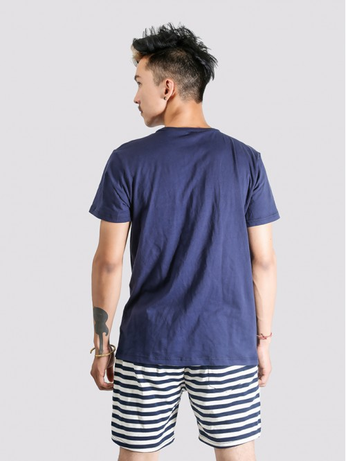 Men's Navy Crew Neck Top