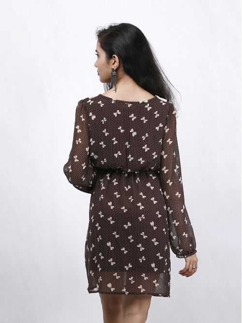 Butterfly Print Full Sleeve Dress