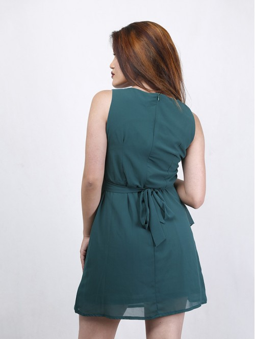 Boatneck Sleeveless Asymmetric Dress