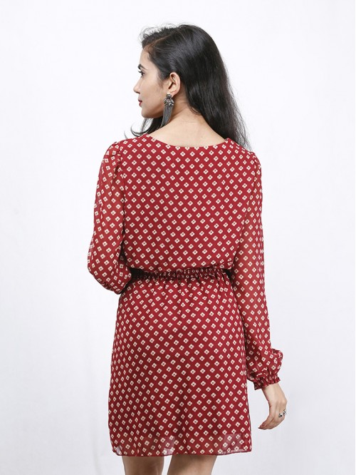 Boatneck Full Sleeve Dress