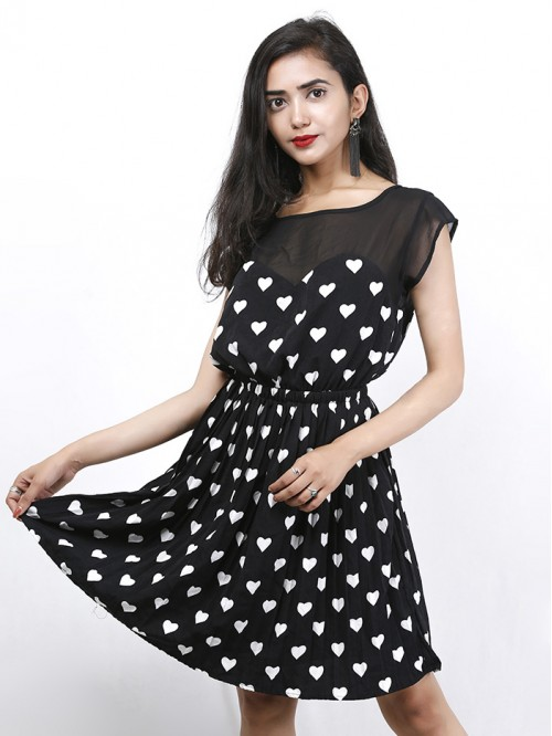 Heart Printed Boatneck Dress