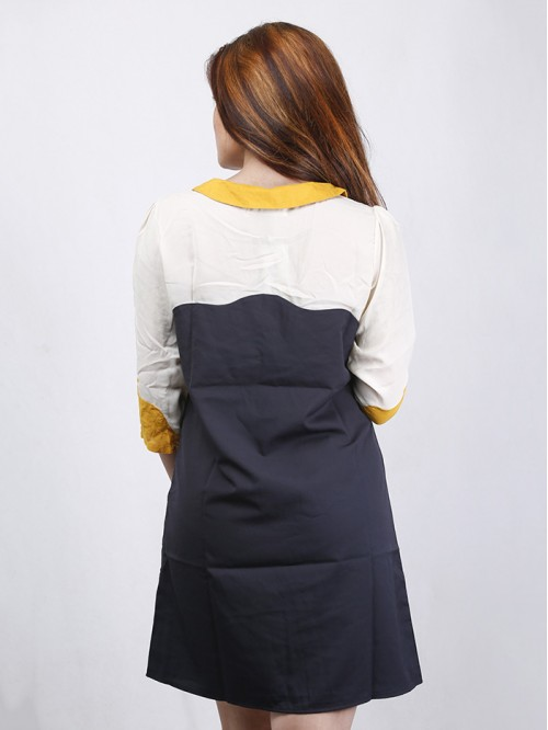 Boatneck Contrast Dress