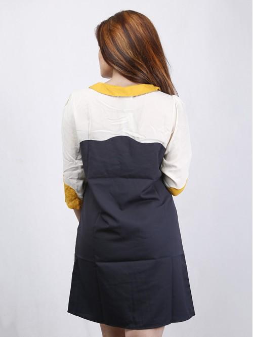 Boatneck Contrast Dress