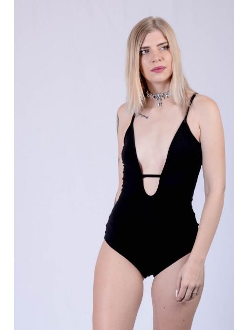Deep Plunge Neck Front String Sling Bodysuit