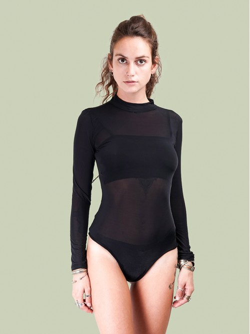 Turtle Neck Full Sleeve Mesh Bodysuit