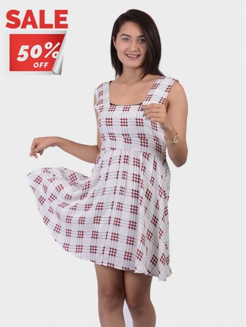 Square Neck Sleeveless Skater Dress