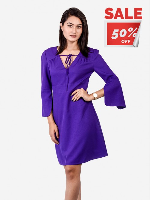 V neck Tie Up Dress