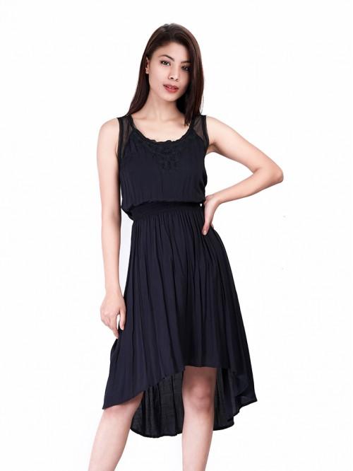 Lace Detail Gather Dress