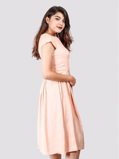 Boatneck Sleeveless Gather Dress