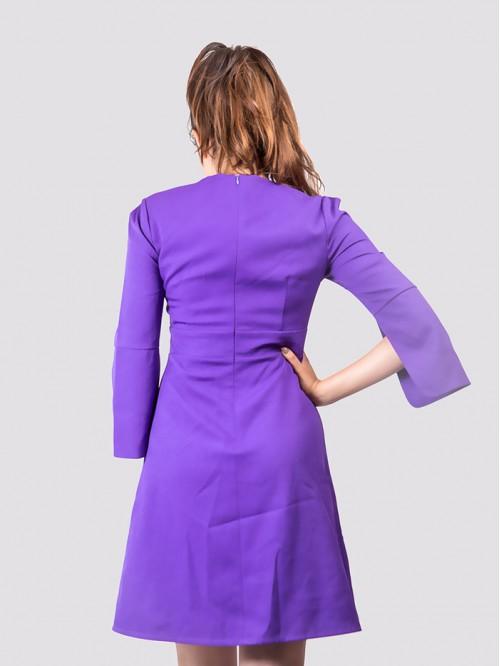 V Neck Lace Detail Flare Sleeve Dress