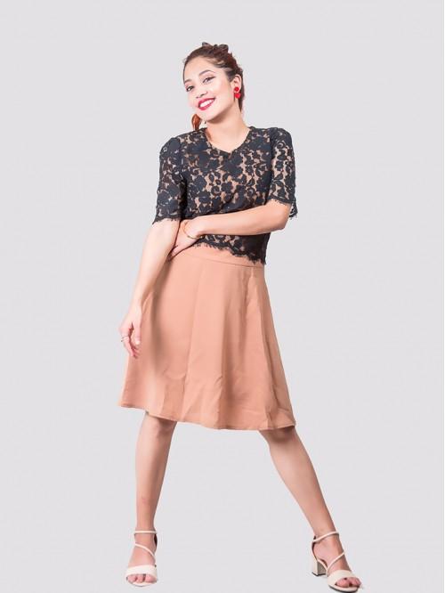Half Sleeve Net Detail Dress